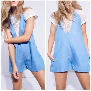 NWT Minkpink Caught Out Chambray Mesh Playsuit S